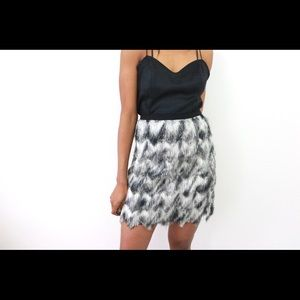Salt & Pepper Fringed Skirt